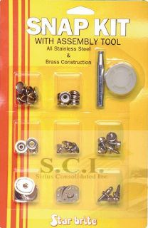 Star Brite Canvas or Vinyl Stainless Steel Brass Snap Kit with