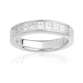 Ladies 1 CT. T.W. Princess Cut Diamond Wedding Band in 14K White Gold