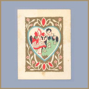 Vintage Valentine Card 1930s Deco Carrington Jolly Lark