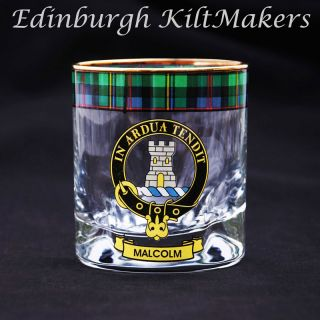 Mitchell Clan Crested Whisky Glass Tartan Whisky Glasses