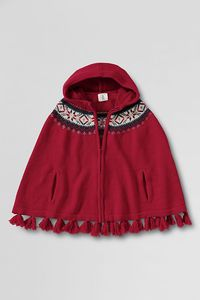 NWT Lands End Girls Fair Isle Zip front Hooded Cape L XL 14 16 Jacket