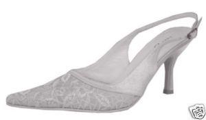 Carlo Fellini White Nikki Bridal Evening Heel Satin Sho
