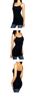 basic black stretchy cotton long cami bra tank top l description