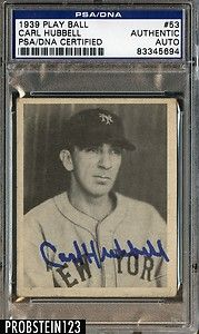 1939 Play Ball 53 Carl Hubbell Giants HOF Signed AUTO PSA DNA Deceased