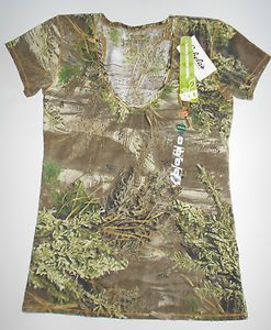 New Womens Realtree Girl Camo Camouflage T Shirt Top Size XL x Large