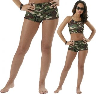 Womens Military Woodland Camouflage Army Hot Camo Mini Shorts