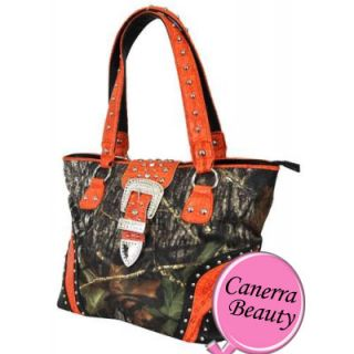 Mossy Oak Camo Rhinestone Western Belt Studded Large Tote Bag Handbag