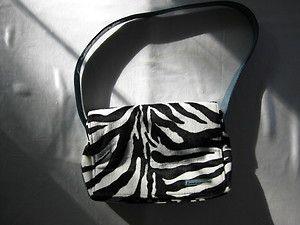 Carlos Falchi zebra animal print pony skin purse shoulder hand bag F