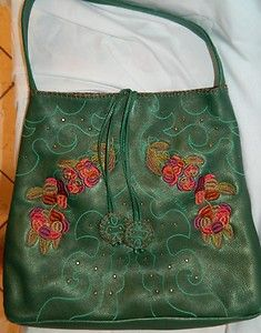 Carlos Falchi Deep Emerald Green Pebble Leather Embroidered Studs Tote