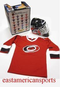 Carolina Hurricanes NHL Goalie Uniform 3 PC Set Helmet Jersey Youth