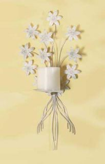 Shabby Cottage Chic Bouquet Wall Candle Holder Sconce