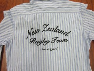 Canterbury of New Zealand Rugby Team Mens Blue Striped Long Sleeves