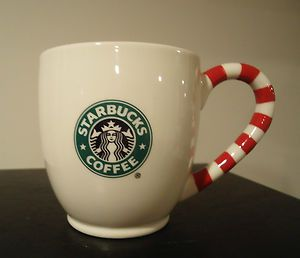 SARBUCKS Coffee Cup Mug 2010 Bone China Mermaid Logo Candy Cane