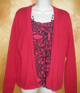 Womens Size PXL Red Black Elementz Dressy Cardigan Sweater 2 Fer