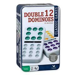 Features of Cardinal Double 12 Color Dot Mexican Train Dominoes in Tin