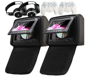 Black 7 LCD Car Stereo Headrest DVD Players LCD Monitor Wireless Game