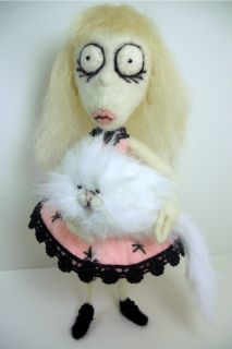 Sneffcas World OOAK Needle Felted Weird Girl Mr Whiskers