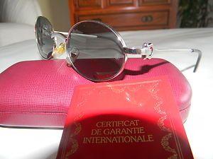 Cartier Sunglasses Round Platinum Frames with Grey Lenses