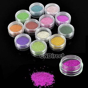 Women Colorful Caviar Nail Art Carving Pattern Glitter Bead Nail
