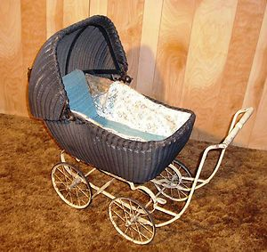 Vintage 1936 1939 Black Rattan Wicker Baby Doll Carriage