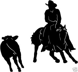Cowboy Cutting Horse Decal ST2 Western Rodeo 6 Decals