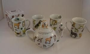 Paul Cardew Design Teapot & 4 Cups Mans Best Friend Dog Breeds Gift