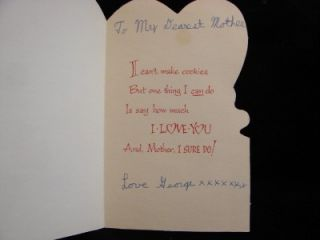 VINTAGE I CANT MAKE COOKIES MOTHER VALENTINE GREETING CARD