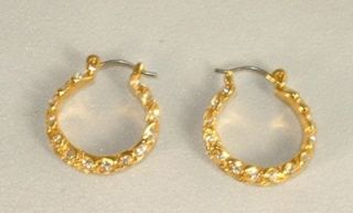 CAROLEE Gold Tone Rhinestone Hoop Earrings Leverback Pierced