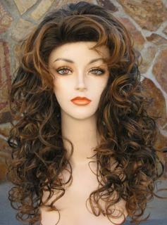 Long Full Curly Rooted Color Wig with Perma Lift Top N Short Front