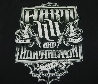 Carey HART & HUNTINGTON TATTOO SHOP LAS VEGAS INK ROCK MOTO T SHIRT Sz