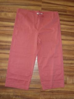 Chicos Salmon Pink Cargo Capris Cropped Pants Cotton Stretch Womens