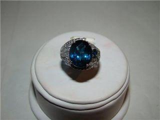 14k WG London Blue Topaz Blue White Diamonds Ring Size 7
