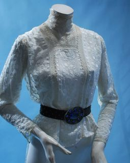 1900 Lovely Sweet Summer White Embroidered Vicky High Neck Blouse