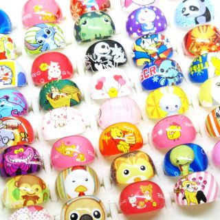Wholesale Mixed 25Pcs cute cartoon characters Lucite resin Children
