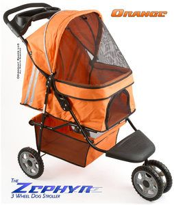 ORANGE 3 WHEEL DOG CAT STROLLER CARRIER PET STROLLERS PS 01 O V2