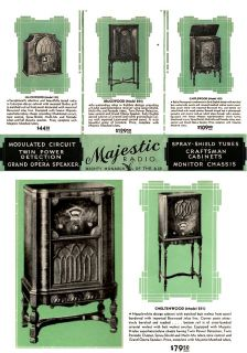 Vintage 1931 Majestic Radio Consoles Table Model Old Brochure
