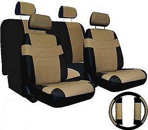Car Seat Covers TAN BLACK SET w/ Steering Wheel Cover Bonus pkg FREE
