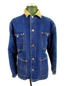 Ralph Lauren Denim Jean Jacket Coat Flannel Lined Barn Chore L