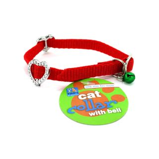 144 Adjustable Cat Kitty Bell Collars Hearts Assorted Colors