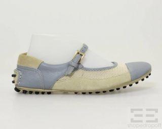 Car Shoe for Prada Beige Mesh Blue Leather Mary Jane Flats Size 37 5