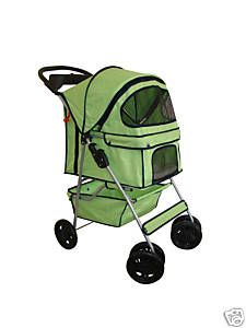New Stable Green Pet Dog Cat Stroller w/Rain Cover Four Wheel