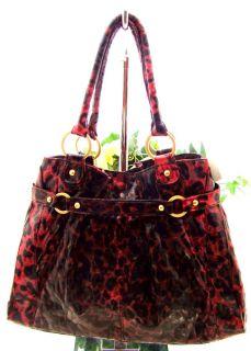 Carlos Santana Black Red Leopard Satchal Handbag New