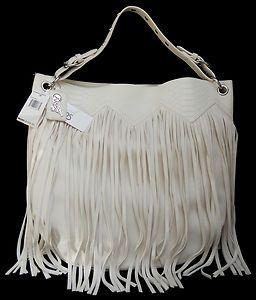 Carlos Santana Spirit Fringe Emboss Purse Hobo Satchel Handbag Retail
