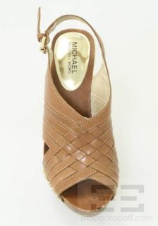 Michael Kors Tan Woven Leather & Studded Carly Sandal Wedges Size 6.5M