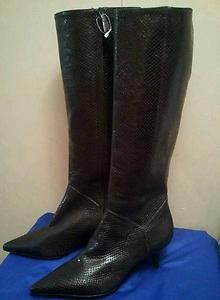 Cole Haan Boots Tall Snake Embossed Leather Metallic Nike Air Womens