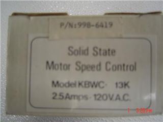CARNES MOTOR SPEED CONTROL KBWC 13K 998 6419