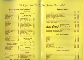Taix French Restaurant Menu Wine List Los Angeles California 1958