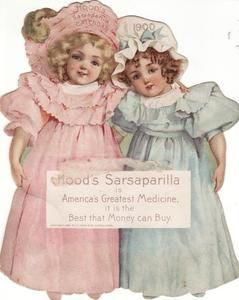 Antique Victorian Trade Card Diecut Calendar Girls Hoods Sarsaparilla