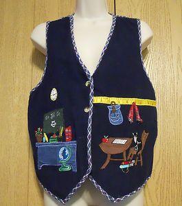 Casey Max Navy Corduroy Plaid School Teacher Cat Themed Vest Misses