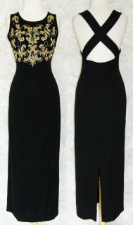 Carole Little Long Black Beaded Sweater Knit Dress L Tank Fall Winter